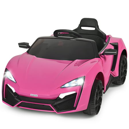 Costway 12V Kids Ride On Car 2.4G RC Electric Vehicle w/ Lights MP3 Openable Doors White\Black\ Red\Pink