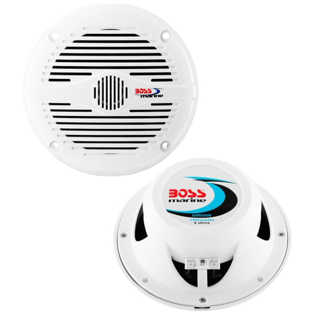 "2) NEW BOSS MR50W 5.25"" 2-Way 150W Marine/Boat Coaxial Audio Speakers - White"