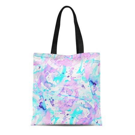 NUDECOR Canvas Tote Bag Geometric Watercolor Swimwear Pattern Abstract From Brushstrokes and Splashes Durable Reusable Shopping Shoulder Grocery Bag - image 1 of 1