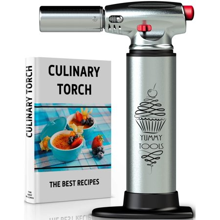 BEST CULINARY TORCH - Chef Torch for Cooking Crème Brulee - Aluminum Hand Butane Kitchen Torch - Blow Torch with Adjustable Flame - Cooking Torch - Perfect for Baking, BBQs, Crafts + Recipe (Best Hand And Blow Jobs)