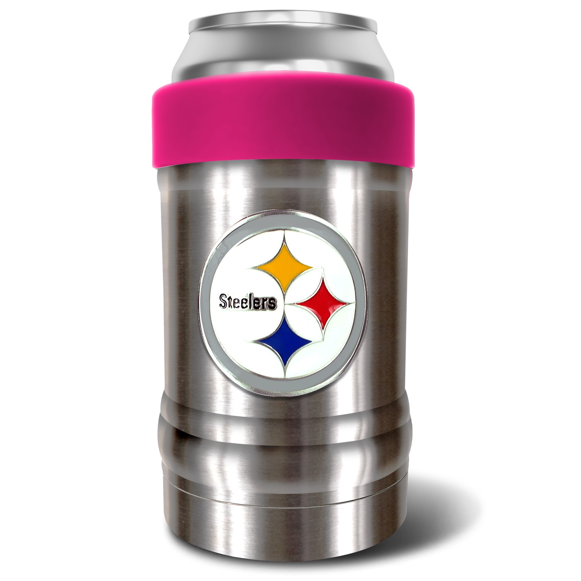 Pittsburgh Steelers The Locker 12oz. Can Holder - Silver/Pink - No Size