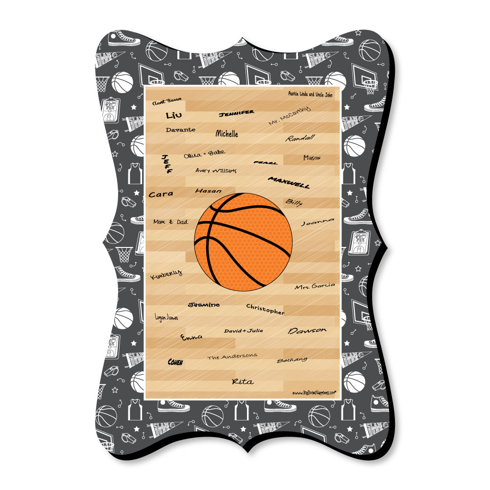 Nothin' But Net - Basketball - Unique Alternative Guest Book - Baby Shower or Birthday Party Signature Mat