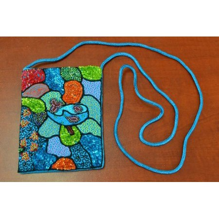 Blue Sequin Beads Button Pouch Jewelry Purse, The size is 6
