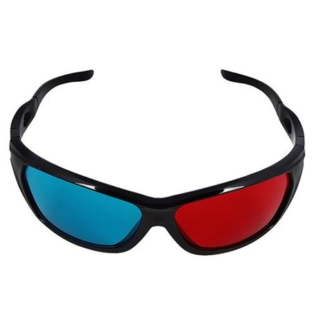 Insten 2 Pack Black Frame Red Blue 3D Glasses For Dimensional Anaglyph Movie Video Game DVD HDTV LCD LED TV Home Theater - 3 D Glasses