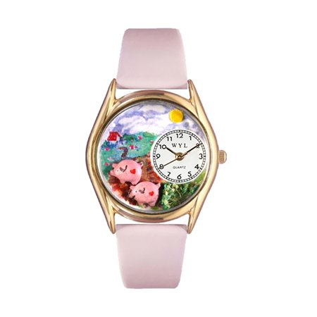 Whimsical Watches Kids C0110002 Classic Gold Pigs Pink Leather And Goldtone Watch
