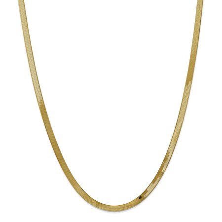 14k Yellow Gold 4mm Silky Link Herringbone Chain Necklace Pendant Charm
