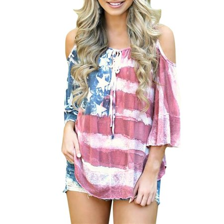 5bfe7a502e9c Mosunx Women American Flag Loose 4th Of July Off Shouder T-shirt Tops Blouse  Plus Size - Walmart.com