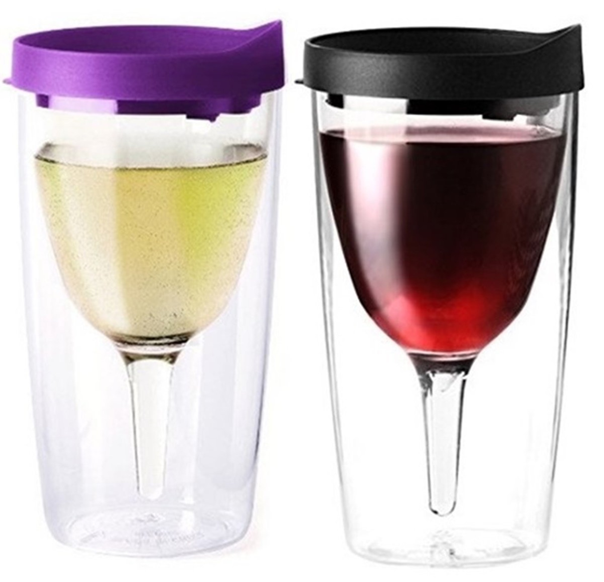 Vino2Go Double Wall Insulated Acrylic Wine Cup Tumbler with Purple and Black Slide Top Lid, 10 oz, Pack of 2