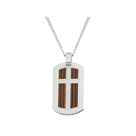 Stainless Steel Cross Cable Wire Dog Tag with Brown Twist Necklace, 24