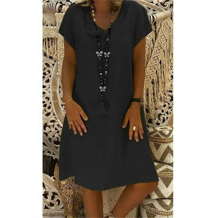 Women Solid Loose T-shirt Cotton Casual Linen Dress (Linen Shift Dress)