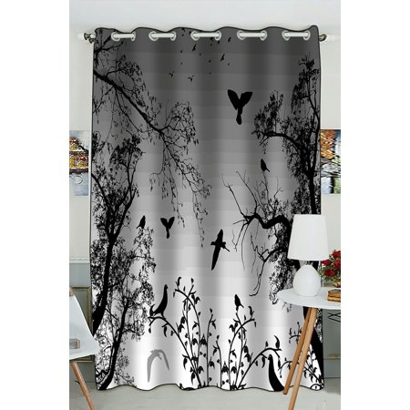 PHFZK Tree of Life Window Curtain, Abstract Nature Background with Birds and Trees Window Curtain Blackout Curtain For Bedroom living Room Kitchen Room 52x84 inches One Piece (Nature Window Curtains)