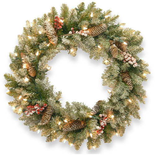 "National Tree Pre-Lit 24"" Snowy Dunhill Fir Wreath with 50 Clear Lights"