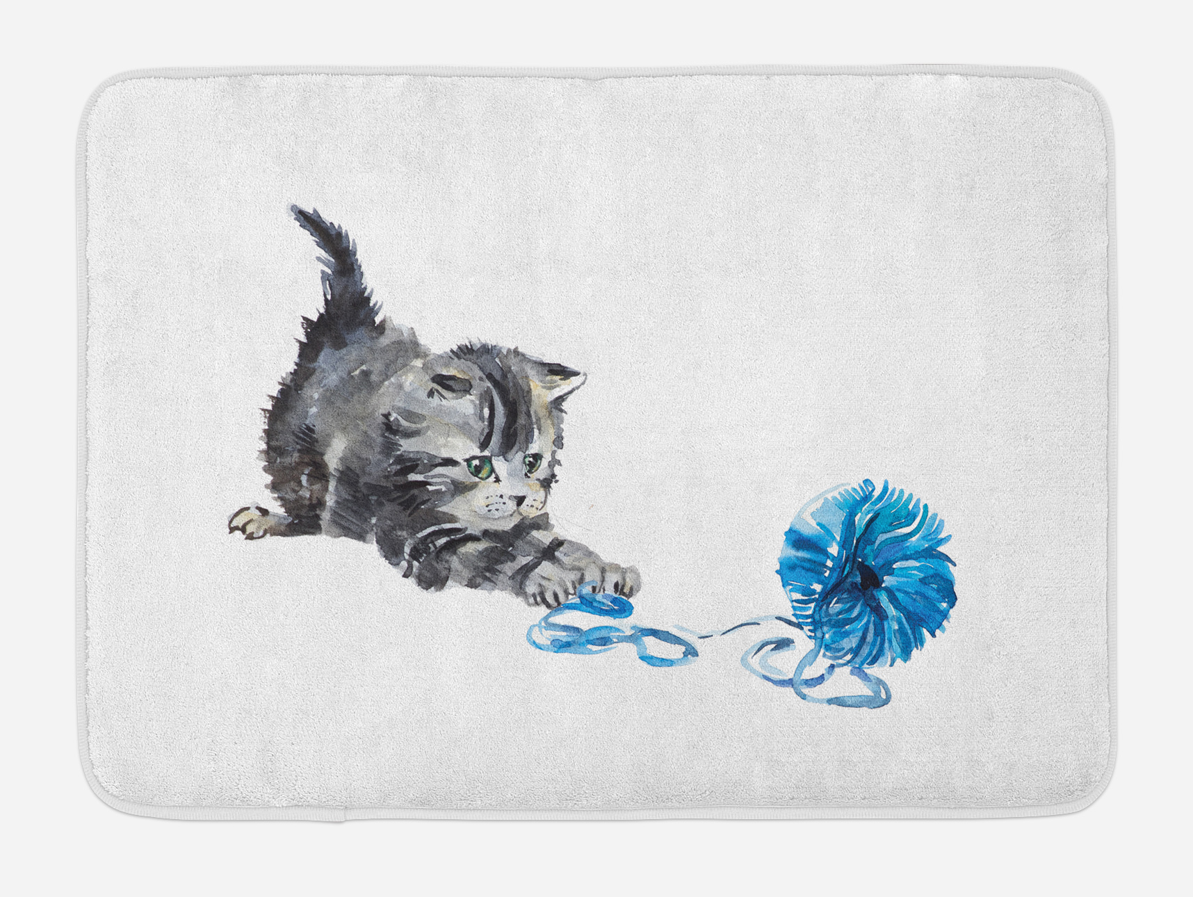 Cat Bath Mat, Playful Baby Kitten with Ball of Yarn Furry Animal Domestic Feline Kids Pets... by 3decor llc