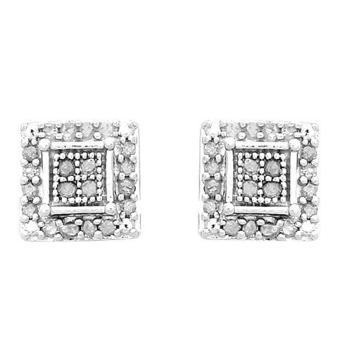 1 4 Carat T W Diamond Sterling Silver Square Stud Earrings