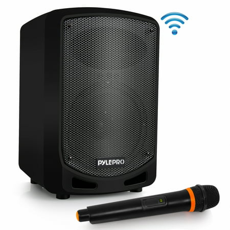 PYLE PSBT65A - Compact & Portable Bluetooth PA Speaker - Karaoke Sound System with Wireless Microphone, Built-in Rechargeable Battery, MP3/USB/SD (600 Watt)