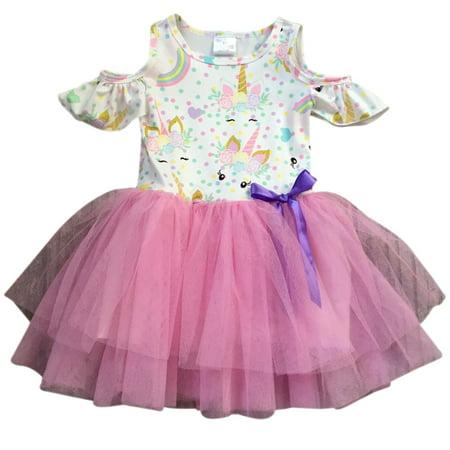 Toddler Girl Kids Unicorn Tulle Summer Easter Birthday Flower Girl Dress Off White 2T XS 201406 BNY Corner - Dress Kids Girl