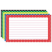 Top Notch Teacher Products TOP3667 Border Index Cards 3X5 Polka Dot Lined