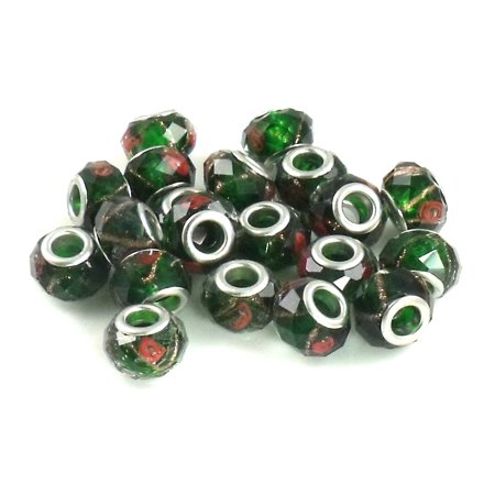 Athena Jewelry Black Green Rose Crystal Beads 10 Fits Pandora