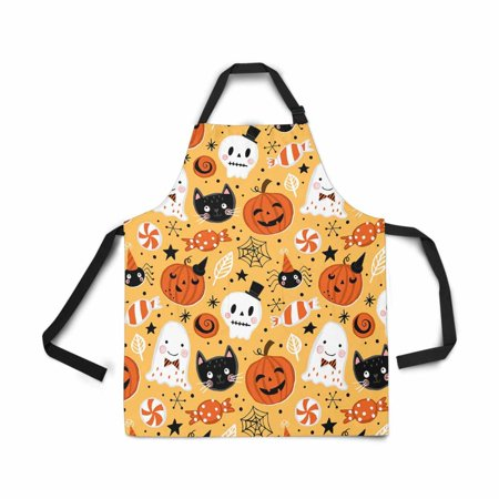 ASHLEIGH Halloween Holiday Seamless Pumpkin Ghost Cat Skull Apron for Women Men Girls Chef with Pockets Adjustable Bib Kitchen Cook Apron for Cooking Baking Gardening Pet Grooming
