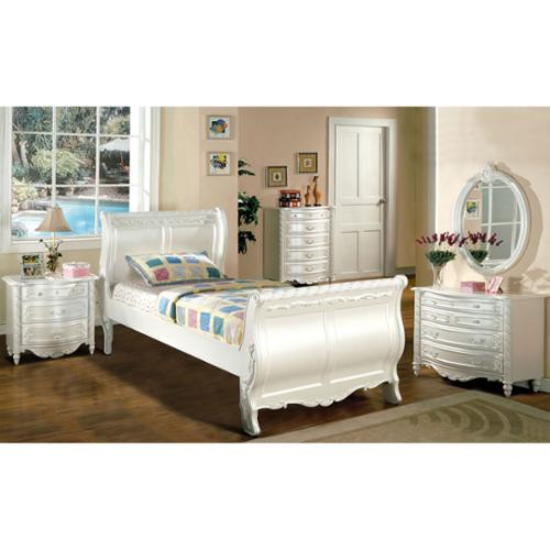 Furniture of America Mystical Reign Pearl White 4-piece Bedroom Set Full