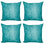 Turquoise Throw Pillow Cushion Case Pack of 4, Blur Meadow Grass Plant Herb in Countryside Rural Mystical Seasonal Picture, Modern Accent Double-Sided Print, 4 Sizes, Blue, by Ambesonne