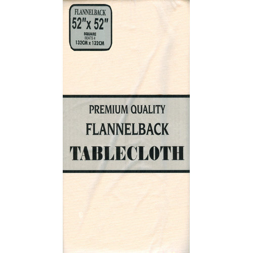 52'' x 70,'' Vinyl Tablecloth with Polyester Flannel Backing in Linen Color by Carnation Home