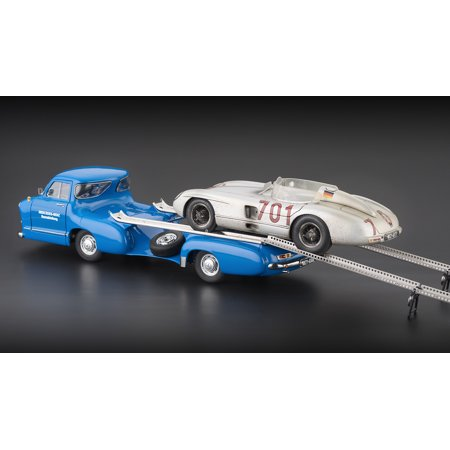 1954 Mercedes Racing Car Transporter  The Blue Wonder  W  Mercedes 300Slr  701 Dirty Hero Ltd To 1000Pc 1 18 Diecast Cmc