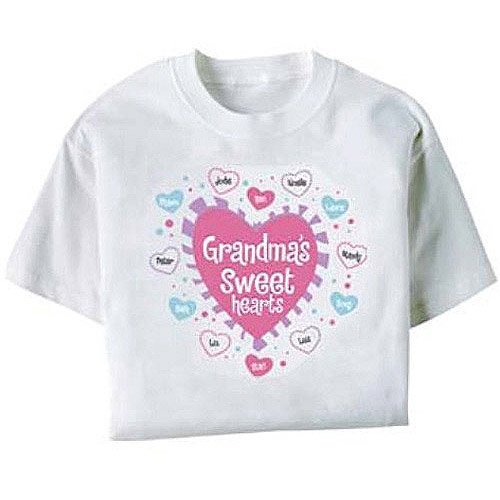 Personalized Hearts Women's T-shirt in White or Pink