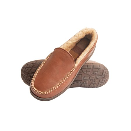 Heat Edge Mens Memory Foam Slip On Indoor Outdoor Venetian Moccasin Slipper Shoe ()