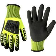 Wells Lemont 589L Impact Protection Nitrile Gloves, Large, Hi Viz Green with TPR Knuckle and Finger Back Protection, Polyester Knit Shell