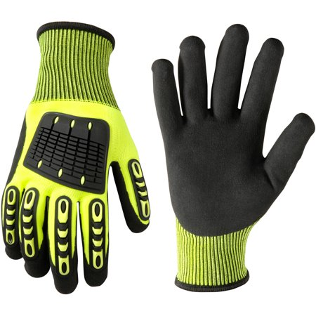 Wells Lemont 589L Impact Protection Nitrile Gloves, Large, Hi Viz Green with TPR Knuckle and Finger Back Protection, Polyester Knit Shell