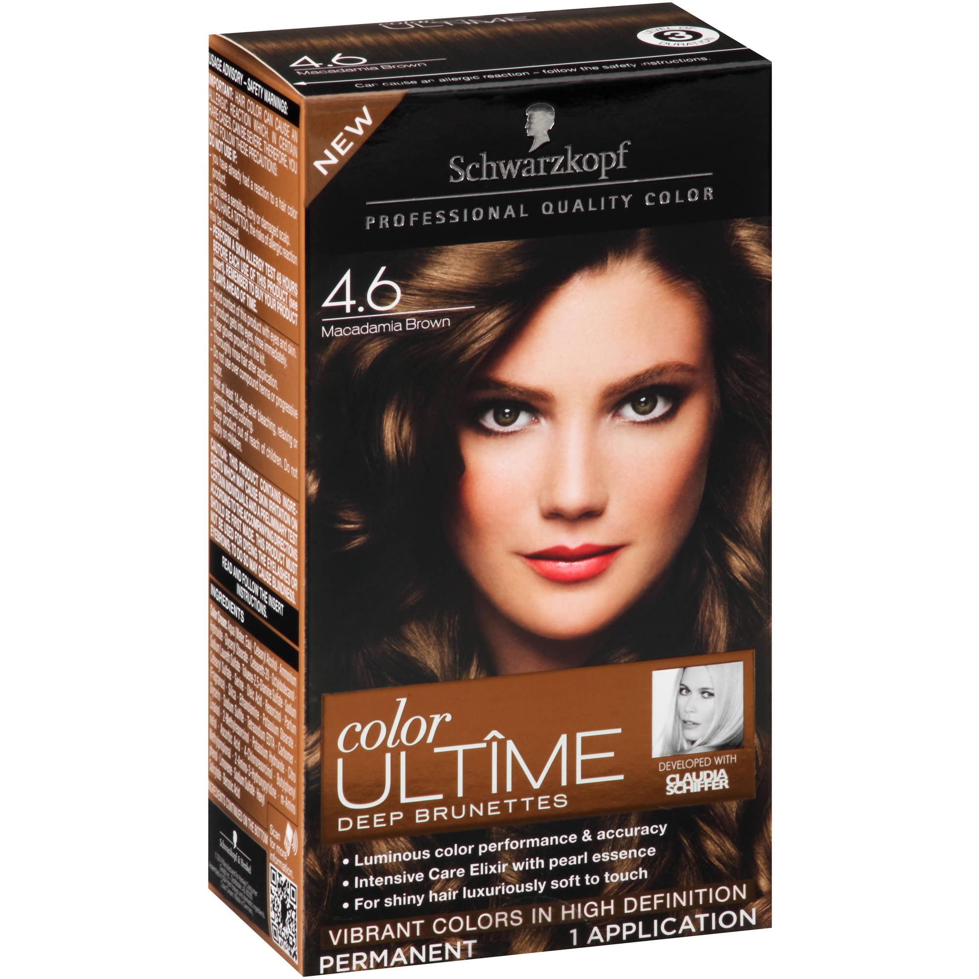 Schwarzkopf Color Ultime Deep Brunettes Hair Coloring Kit, 4.6 Macadamia Brown