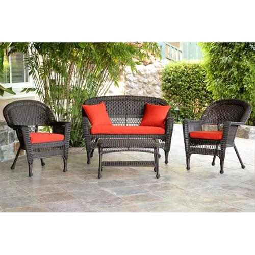 Jeco W00201-G-FS018 4 Piece Espresso Wicker Conversation Set - Red Orange Cushions