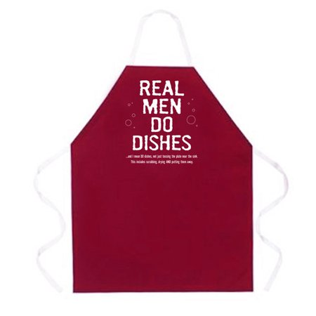 Attitude Aprons by L.A. Imprints Real Men Do Dishes Apron in Maroon