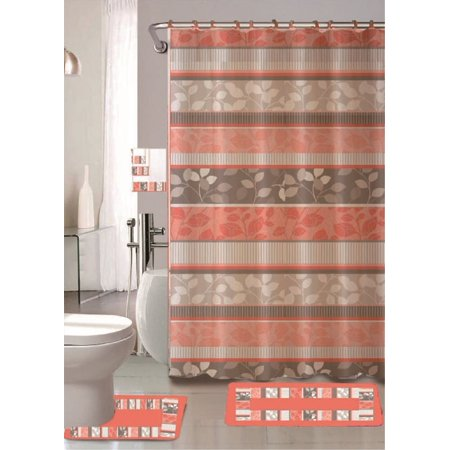 Zen Peach 18 Piece Bathroom Set 2 Rugs Mats 1 Fabric Shower Curtain 12 Covered Rings 3 Pc Decorative Towel