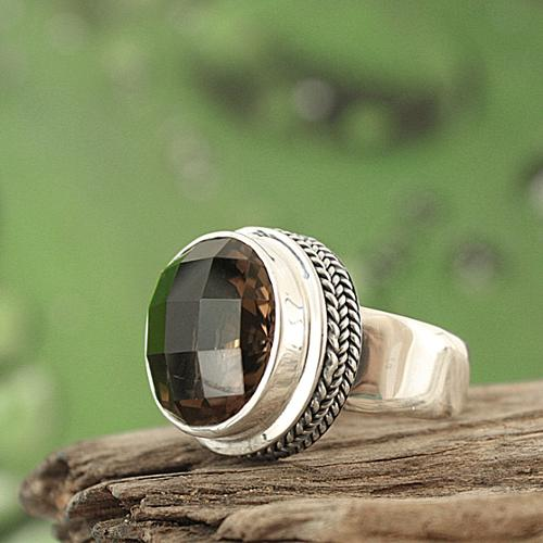 Sterling Arts Handmade Sterling Silver Smoky Quartz Bali Ring (Indonesia) - Brown
