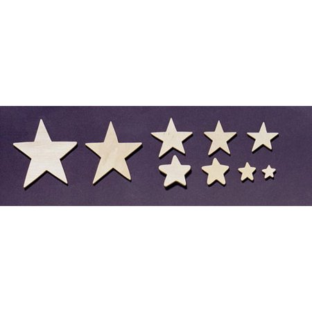 Wood Cutout Stars Ast Sizes 75Grms