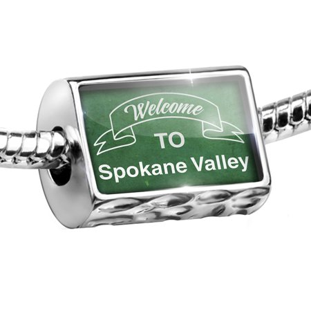 Bead Green Sign Welcome To Spokane Valley Charm Fits All European Bracelets