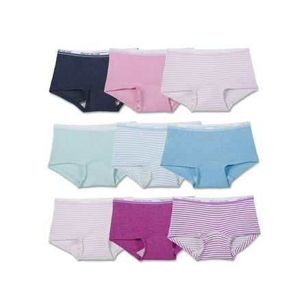 Fruit of the Loom Girls Assorted Heather Boy Short Underwear, 9 Pack Panties (Little Girls & Big Girls)