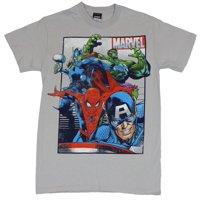 Marvel Comics Mens T-Shirt -  Boxed Under Side Marvel Cap Spider-man Hulk & Thor