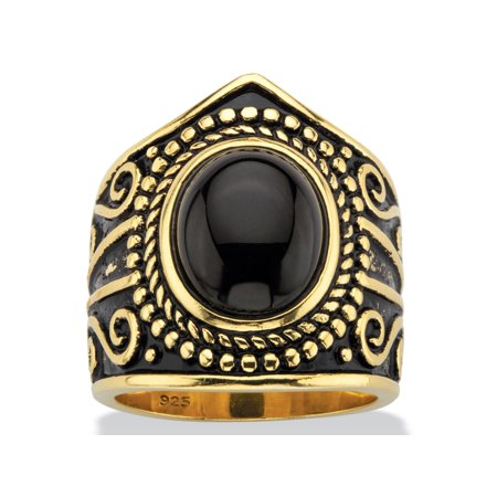 Oval-Cut Black Glass Cabochon Boho Beaded Cocktail Ring in Antiqued 18k Yellow Gold over Sterling Silver (Onyx Antique Ring)