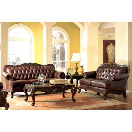 Tufted Victorian Style Brown Leather Sofa Amp Love Seat