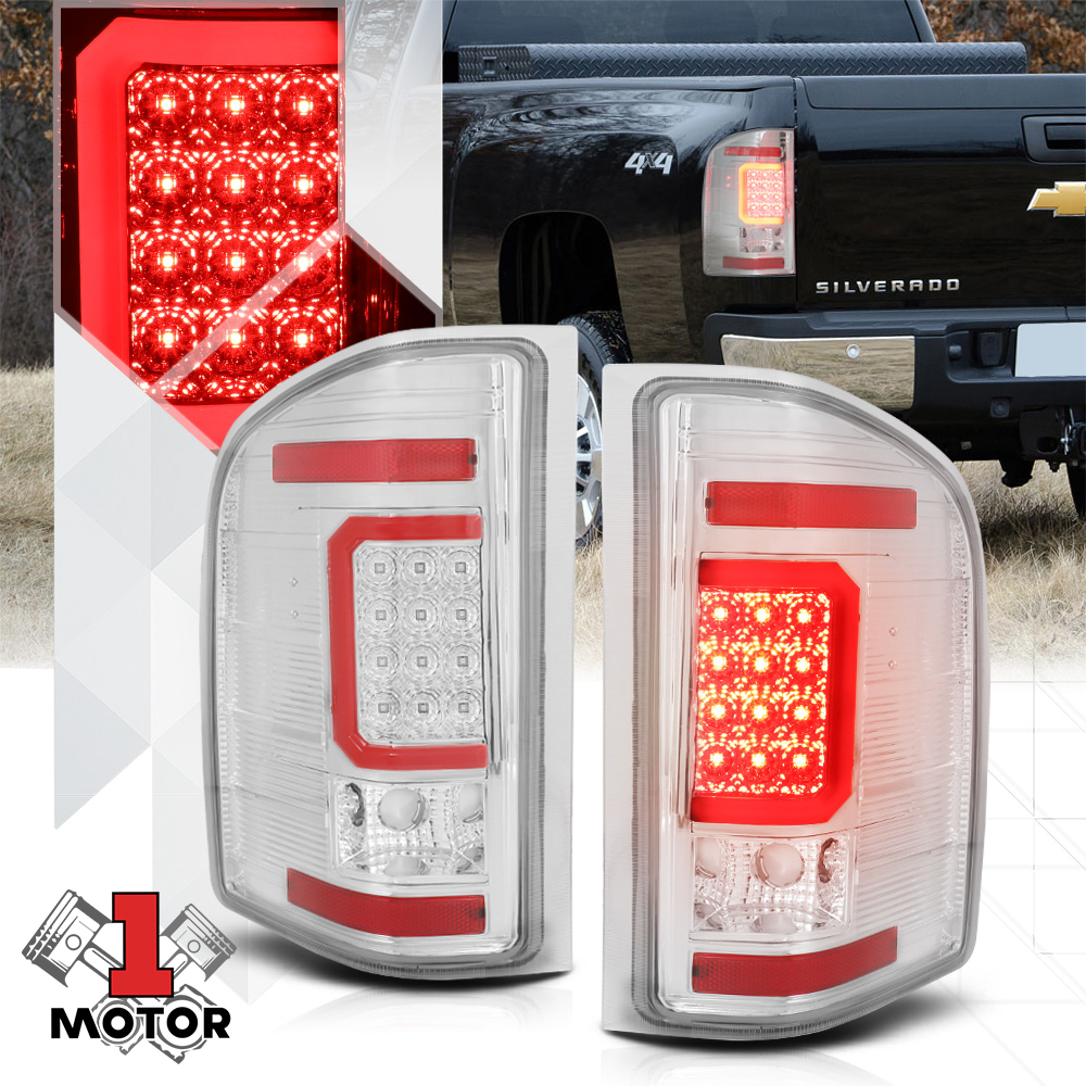 Chrome//Red *TRON LED BAR* 3D Dual Red-C Neon Tail Light Lamp for 09-14 Ford F150