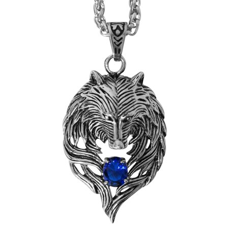 Evelots Mens Stainless Steel Tribal Wolf Biker Pendant Necklace, Blue, 24