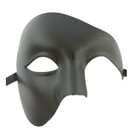 Men's Phantom Black Basic Craft Large Mardi Gras Masquerade Halloween Mask - Quick Halloween Crafts