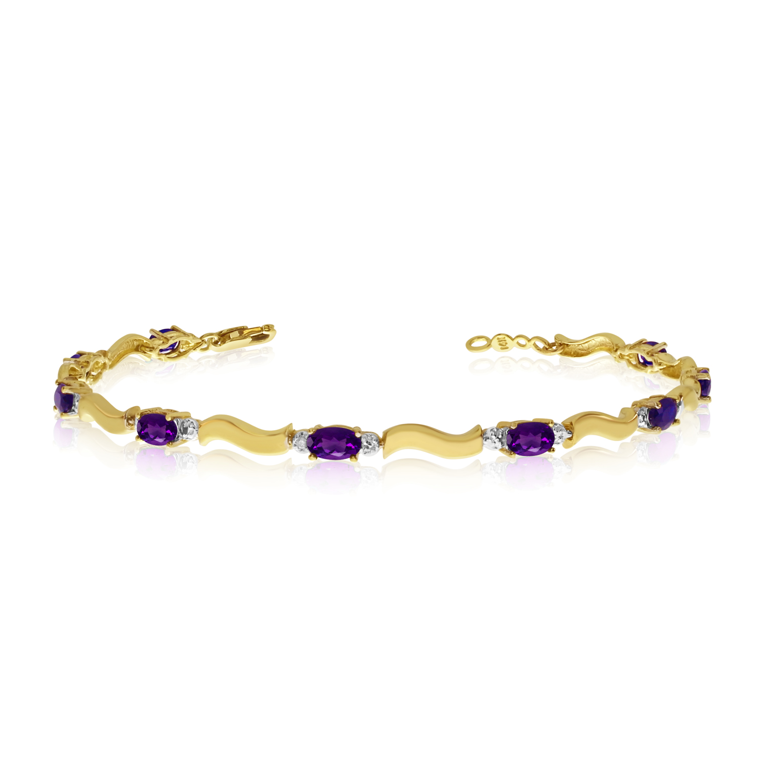14K Yellow Gold Oval Amethyst and Diamond Bracelet by