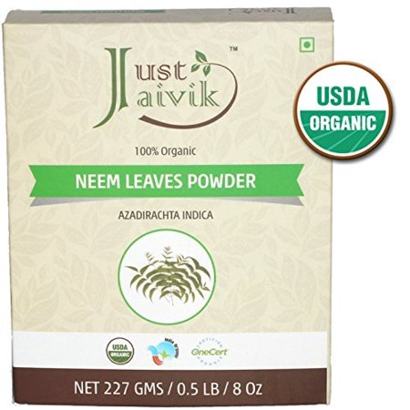 Just Jaivik 100% Organic Neem Leaves Powder - USDA Certified Organic, 227  gms / 1/2 LB Pound / 08 Oz - Azadirachta Indica - Promoting healthy hair  and