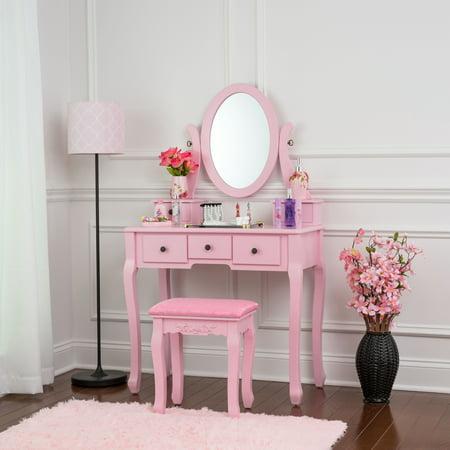 Fineboard Single Mirror Dressing Table Set Five Organization Drawers