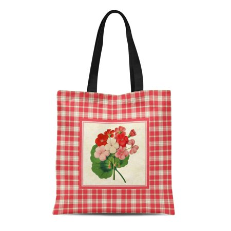 SIDONKU Canvas Tote Bag Flowers Vintage Coral Pink Plaid Pattern Floral Botanical Geranium Reusable Handbag Shoulder Grocery Shopping Bags - Coral Tote Bag