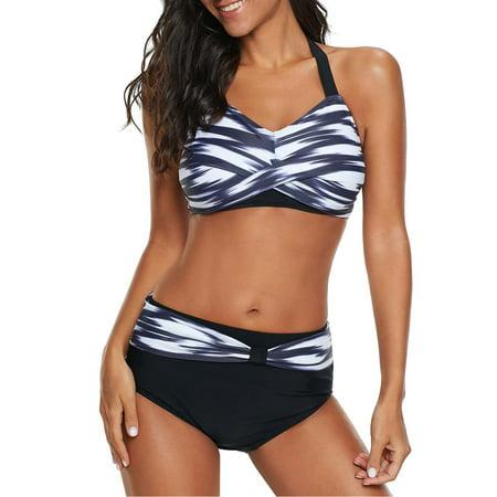 Women's Bikini Set Gradient Cross Push-up Halter Neck Two Pieces Padded Plus Size Swimwear Swimsuit Bathing Suit Beach Wear 2 Piece Slinky Halter